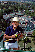 Vic Braden stands above his Tennis College at Coto de Caza, California, 1984. Photo by John G. Zimmerman
