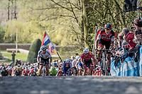 Greg Van Avermaet (BEL/BMC) accelerates up the Kemmelberg cobbles &amp;  Peter Sagan (SVK/Bora-Hansgrohe) tries to jump to his wheel<br /> <br /> 79th Gent-Wevelgem 2017 (1.UWT)<br /> 1day race: Deinze &rsaquo; Wevelgem - BEL (249km)
