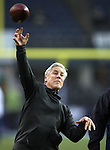 Seattle Seahawks head coach Pete Carroll warms up before their game against Carolina Panthers in the NFC Western Division Playoffs at CenturyLink Field in Seattle, Washington on January 10, 2015.  The Seahawks beat the Panthers 31-17. ©2015. Jim Bryant Photo. All Rights Reserved.