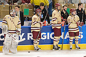 Chris Venti (BC - 30), Bryan McCauley (BC - Manager), Quinn Smith (BC - 27), Kevin Pratt (BC - Manager), Isaac MacLeod (BC - 7), Neal Ratto (BC - Manager), Danny Linell (BC - 10), Chris Malloy (BC - Manager) - The Boston College Eagles defeated the Air Force Academy Falcons 2-0 in their NCAA Northeast Regional semi-final matchup on Saturday, March 24, 2012, at the DCU Center in Worcester, Massachusetts.