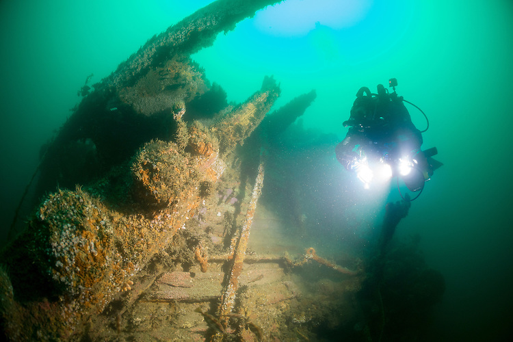 Divers exploring the wreck of the Ambulance Transport HMAT Warilda, which was torpedoed in World War 1 in the English Channel