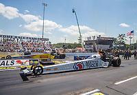 Jun 6, 2016; Epping , NH, USA; NHRA top fuel driver Antron Brown (near) races alongside Shawn Langdon during the New England Nationals at New England Dragway. Mandatory Credit: Mark J. Rebilas-USA TODAY Sports