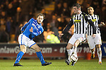 St Mirren v St Johnstone...25.03.14    SPFL<br /> Stevie May's shot is blocked by Jason Naismith<br /> Picture by Graeme Hart.<br /> Copyright Perthshire Picture Agency<br /> Tel: 01738 623350  Mobile: 07990 594431