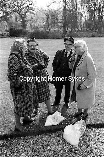 The Tichborne Dole. Tichborne, Hampshire 1974.  Adult residents of 	the parish of Tichborne and Cheriton receive a gallon of flour, and 	half a gallon to the children, with a maximum of four gallons per family.