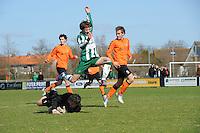 VOETBAL: JOURE: Sportpark de Hege Simmerdyk, 20-04-2013, Amateurvoetbal 2012-2013, SC Joure zat. afd. - VV Oudehaske, Jeroen Luhoff (#9)  Hendrik Meester (#1), Eindstand 1-1, ©foto Martin de Jong