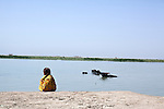 AL-SELKHA, IRAQ: A young girl watches water buffalo swimming in the waterways around the village of Al Selkha...Dozens of families displaced by years of violence live in the village of Al Selkha in Nasiriya...Photo by Ali Arkady/Metrography