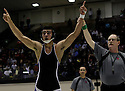 Weslaco East High School's Eli Urbina celebrates after defeating Dominic Zaleski of Judson during the boys' finals of the Region IV wrestling tournament at Littleton Gymnasium on Saturday, Feb. 11, 2012. Urbina became 182 lb. champion with the win.