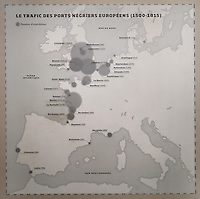 Map of Western Europe, showing the transportation of slaves from ports between 1500 and 1815, in the Musee d'Aquitaine, Cours Pasteur, Bordeaux, Aquitaine, France. Liverpool shipped by far the largest number of expeditions, with 4894. Picture by Manuel Cohen