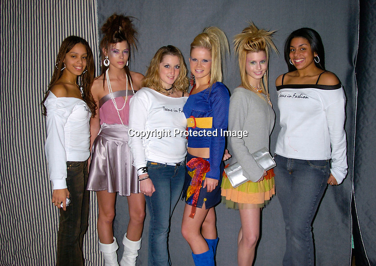 Elizabeth Lopez and Peyton List, Crystal Hunt and Krissy ..Lipka and Stephanie Gatschet and Vanessa Delaine ..at the YM Magazine Teens in Fashion design competition and runway show on February 9, 2004 in New York City. Photo by Robin Platzer, Twin Images.