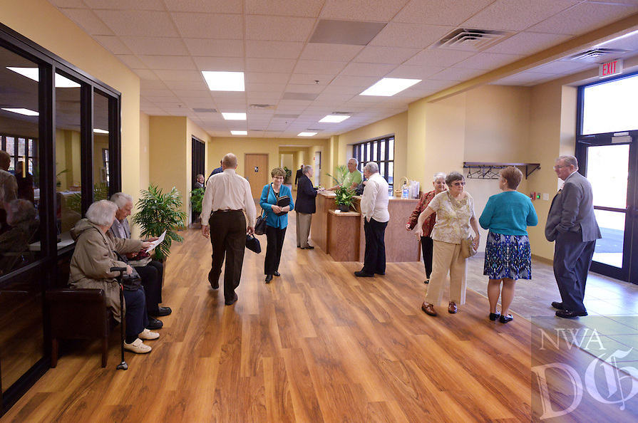 NWA Democrat-Gazette/BEN GOFF @NWABENGOFF<br /> Church members arrive on Sunday Nov. 8, 2015 for the first service in Village Bible Evangelical Free Church's new building in Bella Vista.