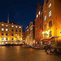 Cafe lined Stortorget at night, Gamla Stan - Old Town, Stockholm, Sweden