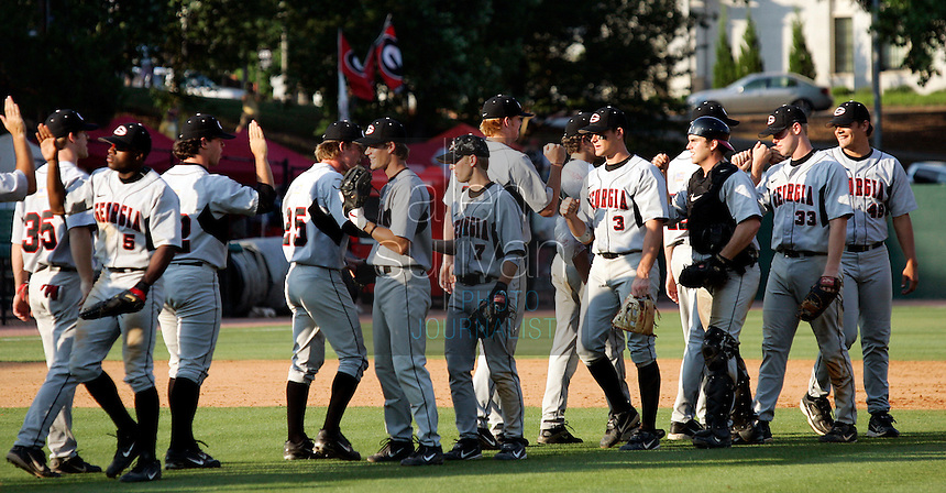 Georgia celebrates after beating South Carolina 11-5 in Game 2 of the NCAA Athens Super Regional on Sunday, June 11, 2006.