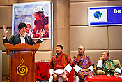 The Bhutanese cabinet ministers look on while MIT graduate and inventor, Shawn Frayne talks about his invention at The first GNH Fund Meeting in Thimphu, Bhutan. Photo: Sanjit Das/Panos