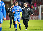 Hearts v St Johnstone....11.01.11  Scottish Cup.Derek McInnes and Peter MacDonald at full time.Picture by Graeme Hart..Copyright Perthshire Picture Agency.Tel: 01738 623350  Mobile: 07990 594431