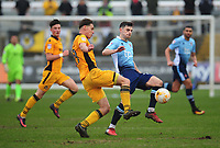Blackpool's Jordan Flores vies for possession with Newport County's Sid Nelson<br /> <br /> Photographer Kevin Barnes/CameraSport<br /> <br /> The EFL Sky Bet League Two - Saturday 18th March 2017 - Newport County v Blackpool - Rodney Parade - Newport<br /> <br /> World Copyright &copy; 2017 CameraSport. All rights reserved. 43 Linden Ave. Countesthorpe. Leicester. England. LE8 5PG - Tel: +44 (0) 116 277 4147 - admin@camerasport.com - www.camerasport.com