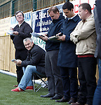 Makeshift &quot;press box&quot; down the side for the journalists at Annan