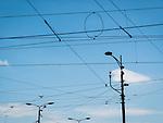 Overhead trolly and electrical lines, Street photography along Aleksandra Bulivard, Belgrade, Serbia