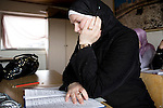 Arhus, Denmark, April, 2010.Charlotte, danish, converted to islam at the mosque during the arabic lesson.