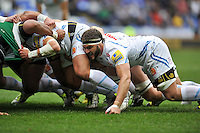 Don Armand of Exeter Chiefs in action at a scrum. Aviva Premiership match, between London Irish and Exeter Chiefs on February 21, 2016 at the Madejski Stadium in Reading, England. Photo by: Patrick Khachfe / JMP