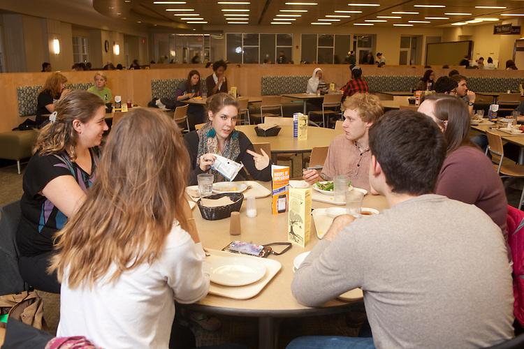 Jasmine Beaubuen, Emily Henthorn, Hayley Marfurt, Zach Perrault, and Colin Geddis dine at Nelson Dining Hall on November 19, 2013.