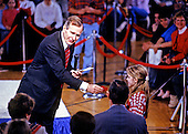 United States President George H.W. Bush moderates an &quot;Ask George Bush&quot; event as he campaigns for reelection at the Hollis/Brookline High School in Hollis, New Hampshire on February 16, 1992 prior to the 1992 New Hampshire Primary.<br /> Credit: Ron Sachs / CNP