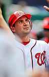 8 September 2011: Washington Nationals third baseman Ryan Zimmerman returns to the dugout after scoring in the 3rd inning against the Los Angeles Dodgers at Nationals Park in Washington, DC. The Dodgers defeated the Nationals 7-4 to take the third game of their 4-game series. Mandatory Credit: Ed Wolfstein Photo