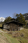 Cow shed and fodder storage, between Brig and Oberwald Swiss alps, Switzerland,