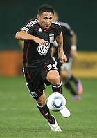 Jaime Moreno #99 of D.C. United leaps into the attack during an MLS match against the New England Revolution on April 3 2010, at RFK Stadium in Washington D.C.