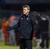 Maryland head coach Sasho Cirovski questions a referees call during the game at the Maryland SoccerPlex in Germantown, MD. Maryland defeated Clemson, 1-0, in overtime.  With the win the Terrapins advanced to the finals of the ACC men's soccer tournament.