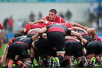 Harrison Keddie of Wales U20 looks on at a scrum. World Rugby U20 Championship match between Wales U20 and Georgia U20 on June 11, 2016 at the Manchester City Academy Stadium in Manchester, England. Photo by: Patrick Khachfe / Onside Images