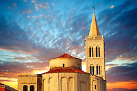 The Byzantine St Donat's Church & the Campinale bell tower of the St Anastasia Cathedral. Zadar, Croatia