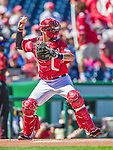7 September 2014: Washington Nationals catcher Jose Lobaton in action against the Philadelphia Phillies at Nationals Park in Washington, DC. The Nationals defeated the Phillies 3-2 to salvage the final game of their 3-game series. Mandatory Credit: Ed Wolfstein Photo *** RAW (NEF) Image File Available ***