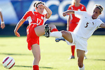 2 November 2005: Clemson's Courtney Foster (left) misses the ball but clips Florida State's Candice Hein (right). Florida State University defeated Clemson University 4-0 at SAS Stadium in Cary, North Carolina in the quarterfinals of the 2005 ACC Women's Soccer Championship.