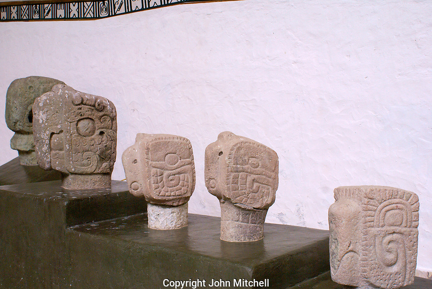 Macaw head sculptures in the Copan Sculpture Museum at the Mayan ruins of Copan, Honduras.
