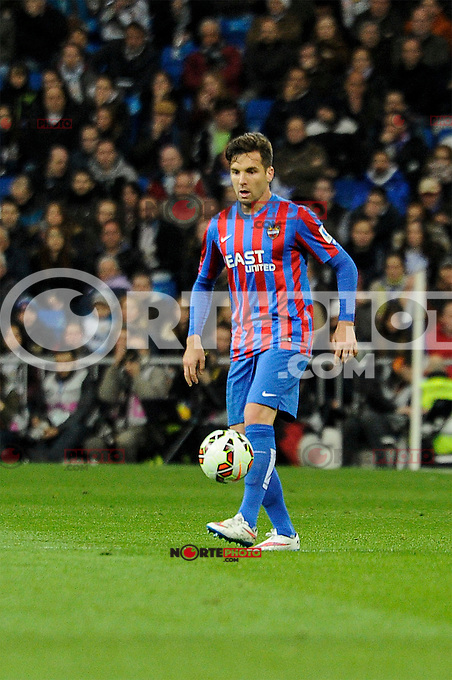 Levante UD´s Antonio Garcia Aranda during 2014-15 La Liga match between Real Madrid and Levante UD at Santiago Bernabeu stadium in Madrid, Spain. March 15, 2015. (ALTERPHOTOS/Luis Fernandez) /NORTEphoto.com
