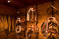 Horse saddles and tack are shown in beautiful tack room