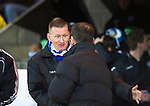 St Johnstone v Dundee United.....01.04.13      SPL.Steve Lomas greets Jackie McNamara before kick off.Picture by Graeme Hart..Copyright Perthshire Picture Agency.Tel: 01738 623350  Mobile: 07990 594431