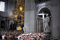 Pope Francis during a priests ordination ceremony in St Peter's Basilica at the Vatican.  26 April 2015