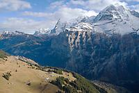 Dry ski slopes of Muerren - Gimmelwald area in the Swiss Bernese alps, December 2006