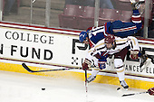 Riley Wetmore (UML - 16), Michael Matheson (BC - 5) - The University of Massachusetts Lowell River Hawks defeated the Boston College Eagles 4-2 (EN) on Tuesday, February 26, 2013, at Kelley Rink in Conte Forum in Chestnut Hill, Massachusetts.
