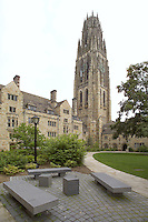 Yale University Campus, Branford College Quad & Harkness Tower in Early Spring. Matthew Joseph Levine '80 Memorial Benches in Foreground. Perspective Corrected. Photo Credit: James R Anderson