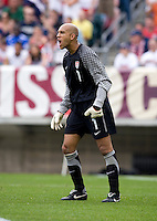 Tim Howard (1) of the USMNT yells to his team at Lincoln Financial Field in Philadelphia, PA.  The USMNT defeated Turkey, 2-1.
