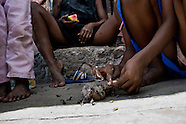 Haitian kids pluck a bird while it is still alive in the shanty town of Cité Soleil, Port-au-Prince, Haiti, 14 July 2008. Hunger force them to eat whatever is available with no mercy. The overall situation on Haiti gets worse every year and the extreme, hardly imaginable poverty hits more and more people. The Haitian economics is paralysed, there is no infrastructure, no food supplies, the population suffer from hunger, social and living conditions in Haitian slums (e.g. Cité Soleil) are a human tragedy. The rage grows and the tension continues with undiminished strength.