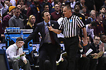 MILWAUKEE, WI - MARCH 16:  Minnesota Gophers Head Coach Richard Pitino argues with an official during the 2017 NCAA Men's Basketball Tournament held at BMO Harris Bradley Center on March 16, 2017 in Milwaukee, Wisconsin. (Photo by Jamie Schwaberow/NCAA Photos via Getty Images)