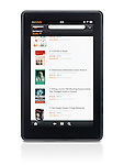 Kindle Fire tablet computer e-book reader with Amazon book store on its display isolated on white background with clipping path