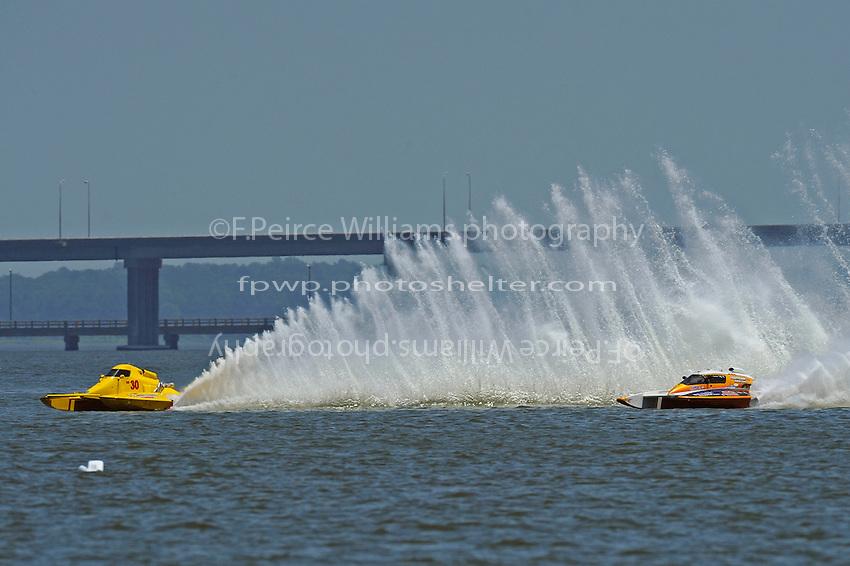 """Thom Heins, NM-30 """"Pennzoil Big Bird"""" and Elizabeth Wolfe, NM-93 """"Desperado"""" (National Mod hydroplane(s)"""