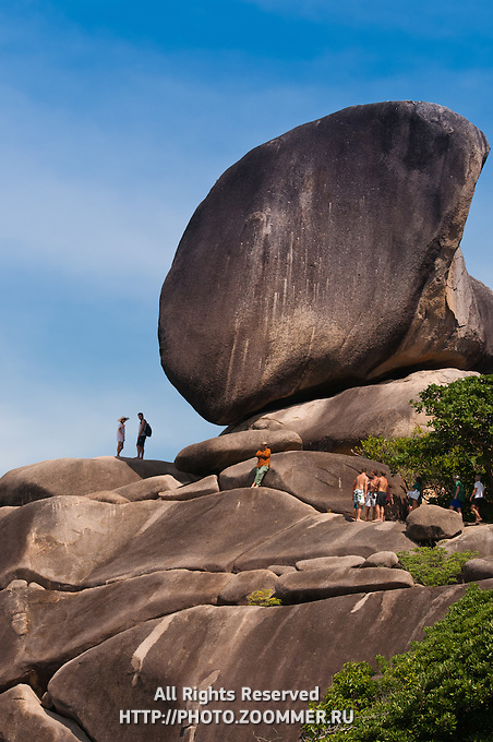 Sail rock with tourists on Similan islands in Thailand