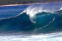 Breaking wave at surf spot called 2nd dip on the Leeward side of Oahu, Hawaii.