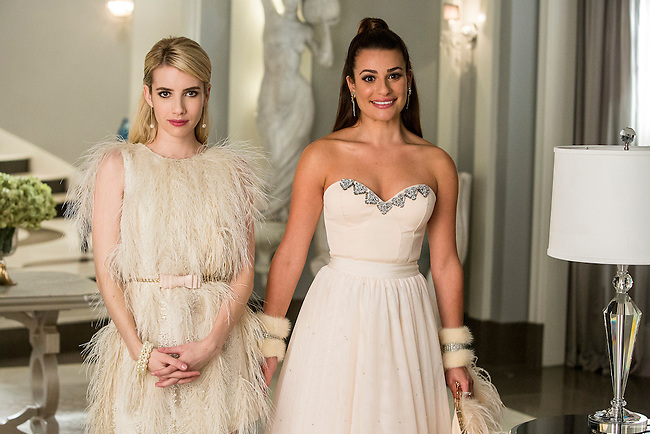 Emma Roberts as Chanel Oberlin and Lea Michele as Hester in Scream Queens, Season 1.