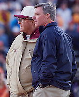 CLEMSON, S.C. 10/23/99-FSU Coach Bobby Bowden, left, and son Tommy Bowden, coach of Clemson talk prior to the start of Saturday's game at Frank Howard Field in Clemson, S.C. ..COLIN HACKLEY PHOTO